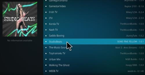 How to Install Studio beats Music Add-on Kodi 17 Krypton step 17
