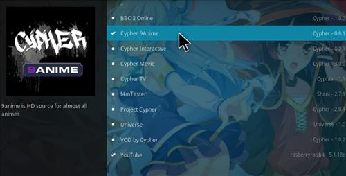 How to Install Cypher 9Anime Add-on Kodi 17.1 Krypton step 17