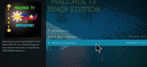 How to Install Malchus TV Pinoy Add-on Kodi 17.1 Krypton step 15