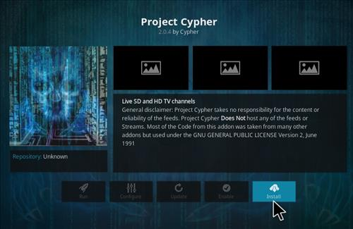 How to Install Project Cypher Add-on Kodi 17.1 Krypton step 18