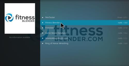 How to Install Fitness Blender Add-on Kodi 17 krypton step 19