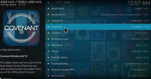 Covenant Add-on Kodi 17 Krypton How to Install Guide step 17