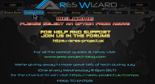 Covenant Add-on Kodi 17.3 Installing and Guide through Ares Wizard step 24