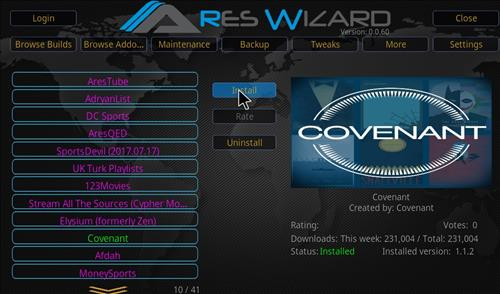 Installing Covenant Add-on through Ares Wizard Guide step 26