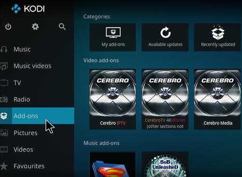 how to add addons to home screen kodu