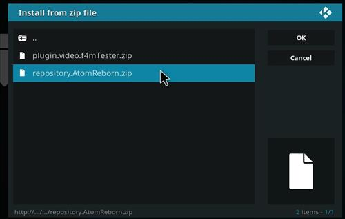 how to install Atom reborn kodi add-on with screenshots step 12