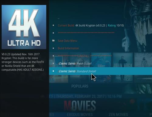 How to Install Cosmic Saints 4K Kodi Build with Screenshots step 19