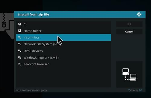How to Install Insomniacs Kodi Build with Screenshots step 11