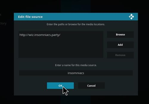 How to Install Insomniacs Kodi Build with Screenshots step 7