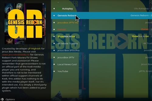 How to Install Genesis Reborn Add-on Kodi 18 Leia step 17