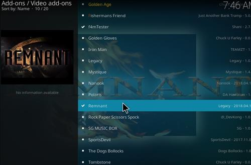 How to Install Remnant Kodi Add-on with Screenshots step 17