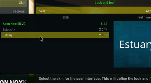 How to change the Skin back to Default Estuary comfort step 4