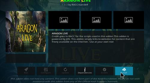 How to Install Aragon Live Kodi Add-on 18 Leia step 18