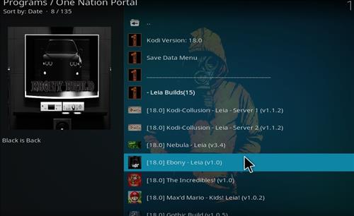 How to Install Ebony Kodi Build 18 Leia step 22