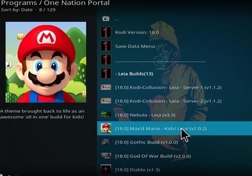 How to Install Max'd Mario Kids Kodi Build 18 Leia step 22