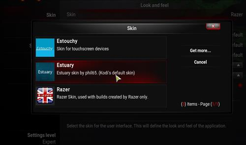 How to change the Skin back to Default Estuary razer step 4