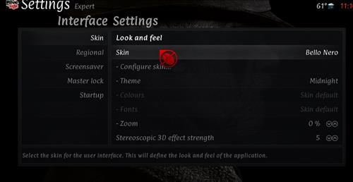 How to change the Skin back to Default Estuary cinema step 3