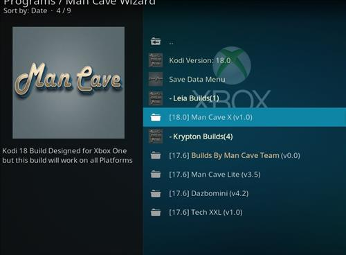 How to Install Man Cave X Kodi 18 Leia Build step 24