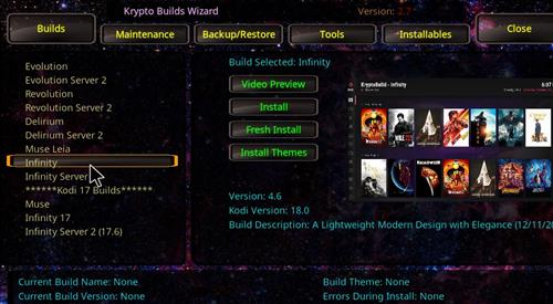 How to Install Infinity Build Kodi 18 Leia step 17