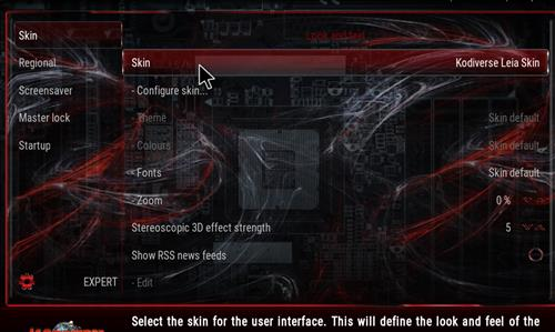 How to change the Skin back to Default Estuary kodiverse step 3