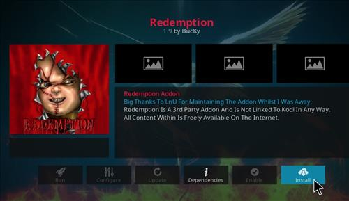 How to install Redemption Add-on for Kodi 18 Leia step 18