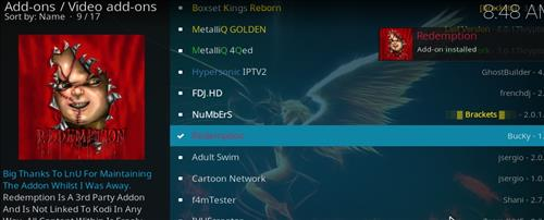 How to install Redemption Add-on for Kodi 18 Leia step 20
