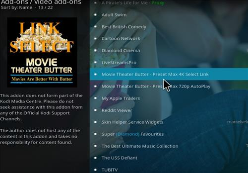 How to Install Movie Theater Butter Kodi 18 Leia Add-on step 18