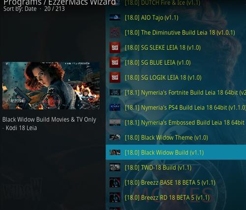 How to Install Black Widow Kodi 18 Build Leia step 24