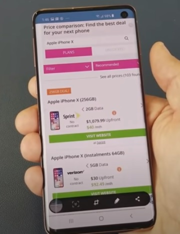 How To Get a Screenshot with a Galaxy S10 S10e S10 Plus Step 2